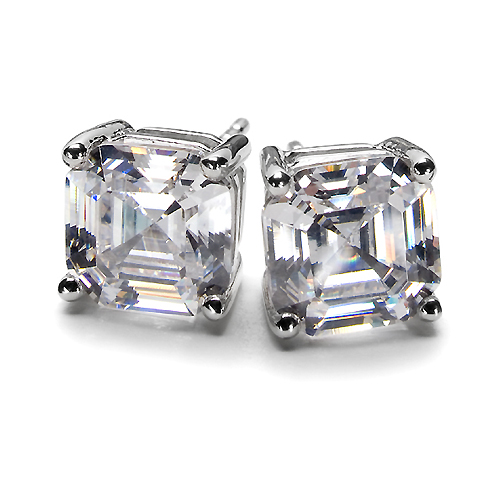 Asscher Cut Diamond Stud Earrings 0.80 tcw.