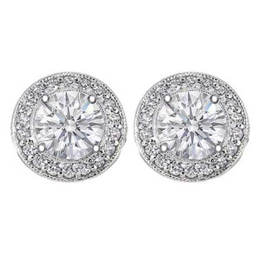 1 1/2 carats tcw. Pave Halo Round Diamond Stud Earrings in White Gold H SI2