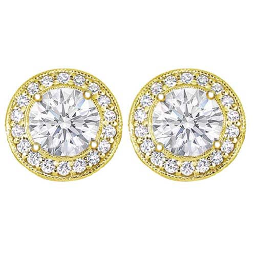 3/4 tcw. Pave Halo Round Diamond Stud Earrings in Yellow Gold H SI2