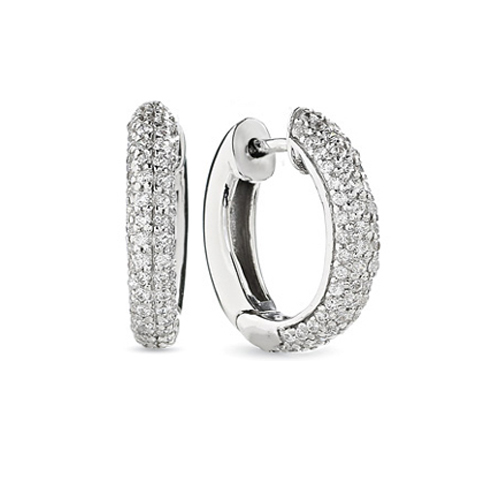 Huggie Diamond Earrings In 14 Karat White Gold H Si