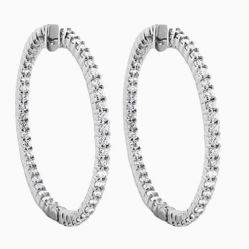 2.94 tcw. Hoop Diamond Earrings in 14 Karat white gold, H SI