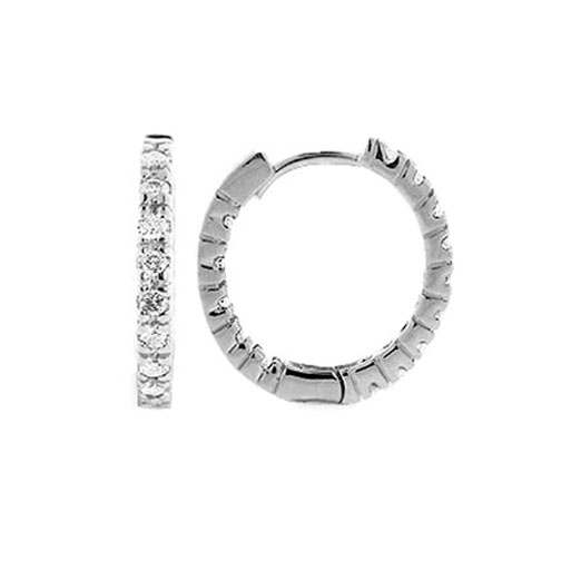 1.92 tcw. Hoop Diamond Earrings in 14 Karat white gold, H SI