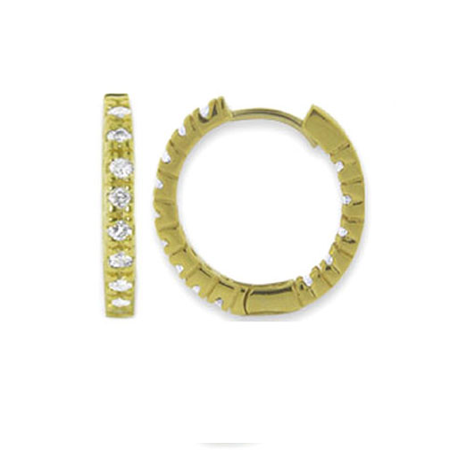 0.80 tcw. Hoop Diamond Earrings in 14 Karat yellow gold, H SI