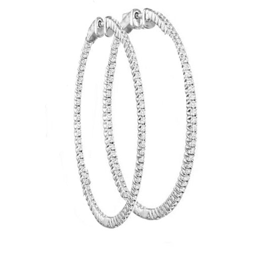 2.28 tcw. Hoop Diamond Earrings in 14 Karat white gold, H SI