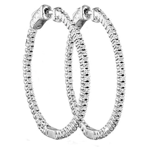 2.16 tcw. Hoop Diamond Earrings in 14 Karat white gold, H SI