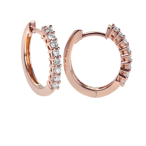 0.80 tcw. Prong Set Hinged Hoop Diamond Earrings in 14 Karat yellow gold, H SI
