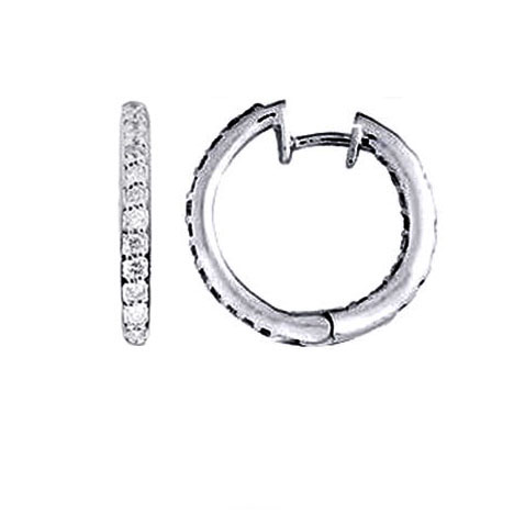 1.90 tcw. Hoop Diamond Earrings in 14 Karat white gold, H SI
