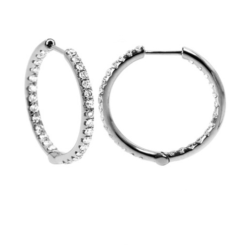 4.00 tcw. Prong Set Hinged Hoop Diamond Earrings in 14 Karat white gold, H SI
