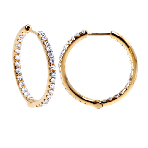 1.56 tcw. Pave Set Hinged Hoop Diamond Earrings in 14 Karat yellow gold, H SI