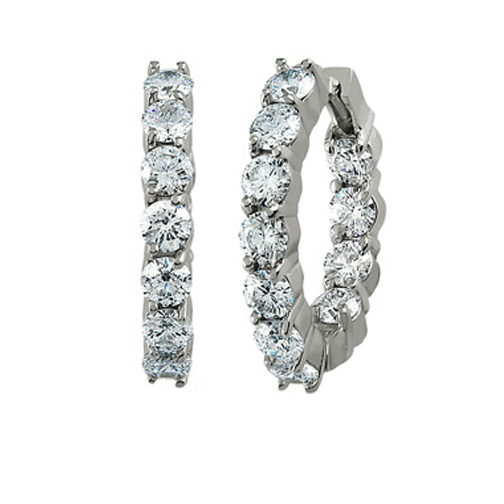 4.40 tcw. Prong Set Hinged Hoop Diamond Earrings in 14 Karat white gold, H SI