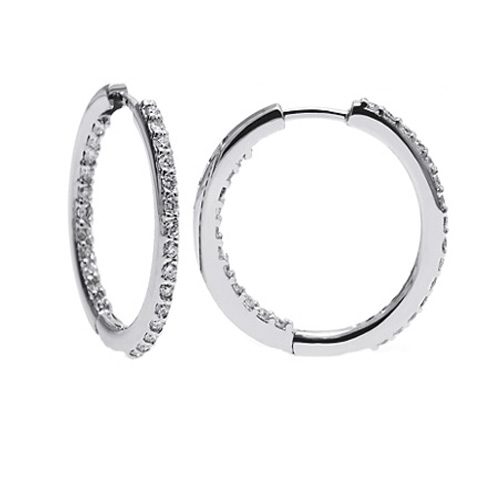 0.90 tcw. Prong Set Hinged Hoop Diamond Earrings in 14 Karat white gold, H SI