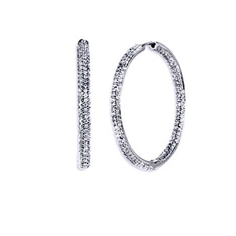 1.72 tcw. Pave Set Hinged Hoop Diamond Earrings in 14 Karat white gold, H SI