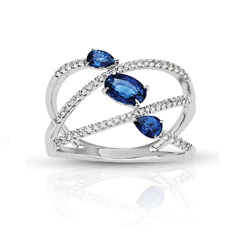 Three Stone Oval & Pear Sapphire in Split Diamond Band