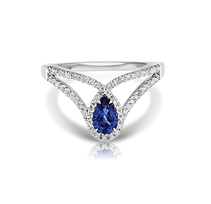 Pear Sapphire Halo Ring with Split Diamond Band