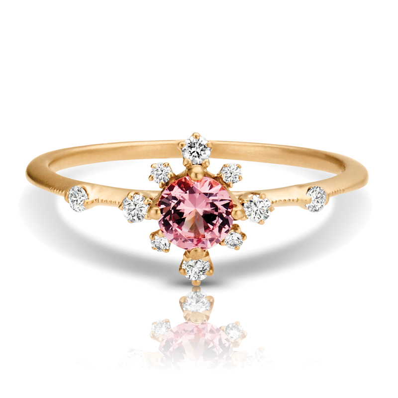 Petite Garnet Flower Halo Diamond Ring in Gold