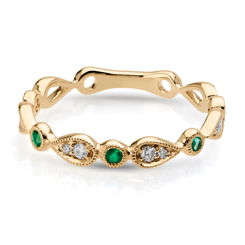 Petite Diamond & Emerald Stackable Band