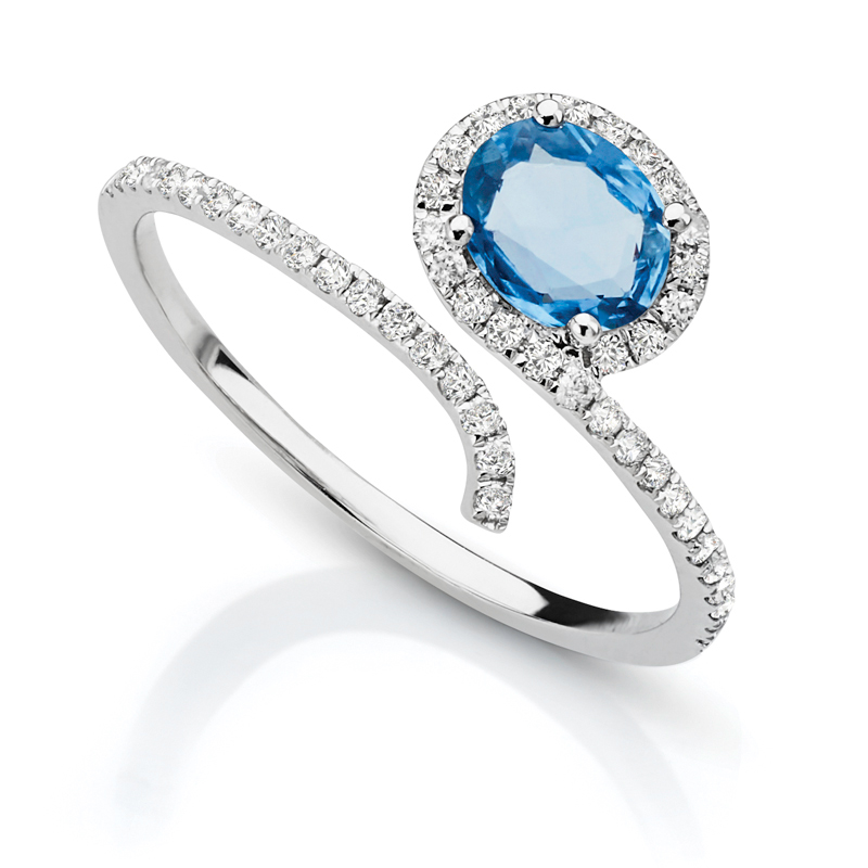 Blue Sapphire Halo Diamond Split Band Petite Ring