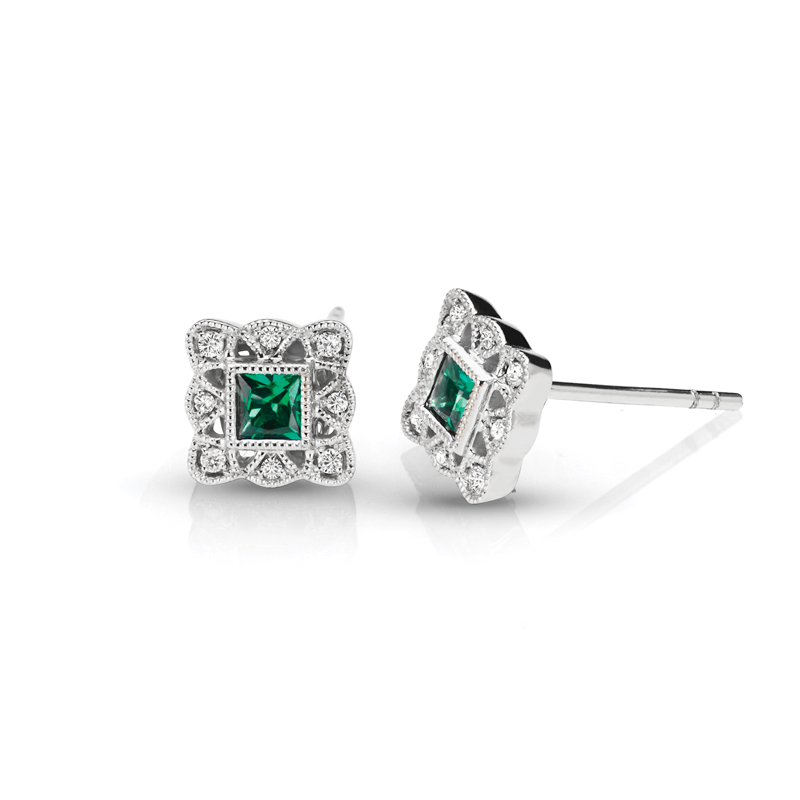 Princess Green Emerald & Diamond Halo Vintage Earrings