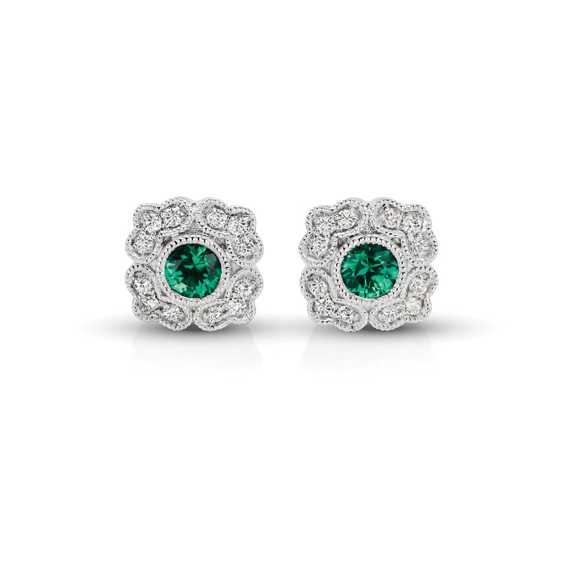 Emearld Floral & Diamond Vintage Earrings