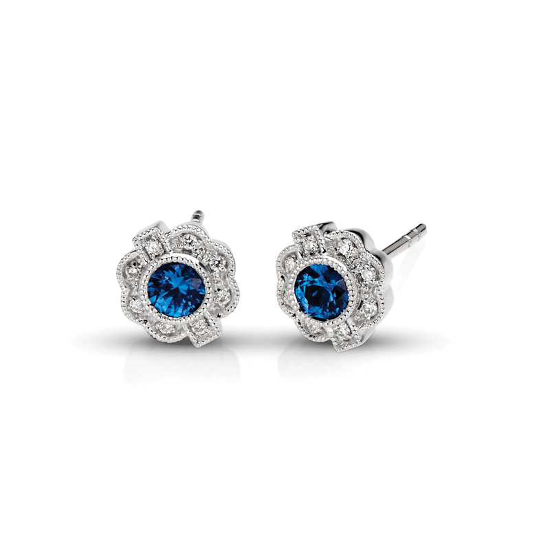 Vintage Sapphire Floral & Diamond Earrings