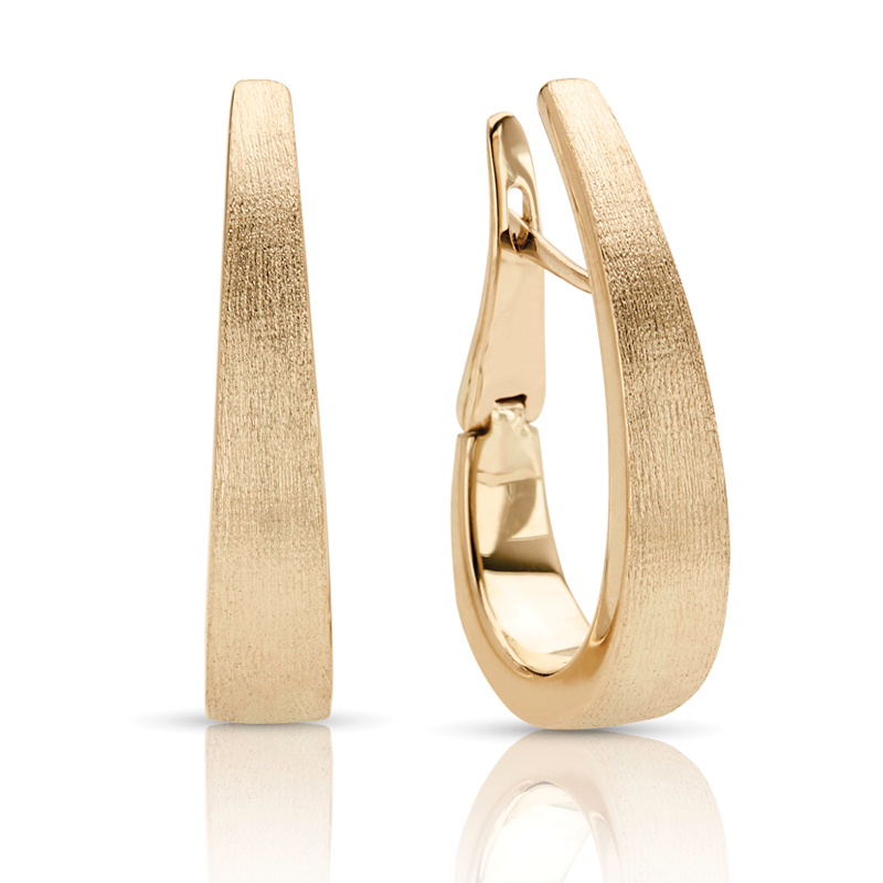 Tapered Hoop Yellow Gold Earrings