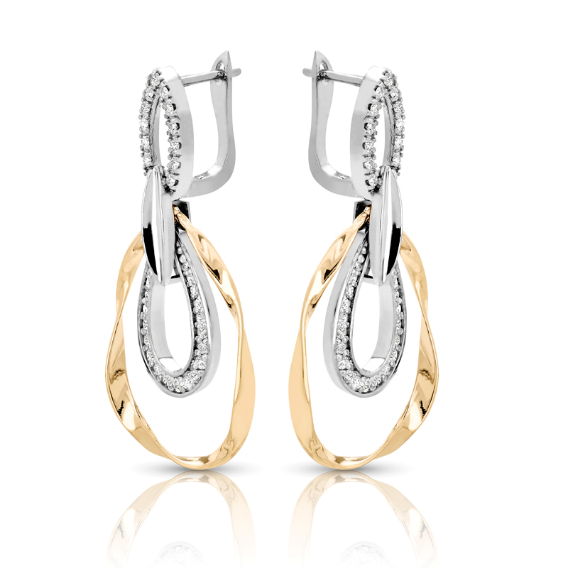 Two Tone Tear Drop Shape Diamond Earrings