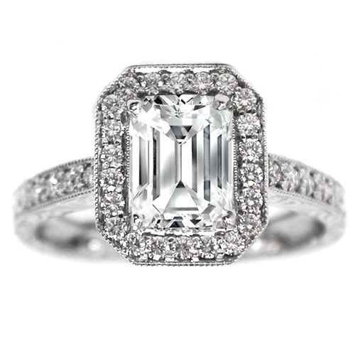 Emerald Cut Diamond Halo Engagement Ring Vintage 0.40 tcw. In 14K White Gold