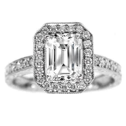 Engagement Ring Emerald Cut Diamond Halo Engagement Ring Vintage 0 40 tcw I