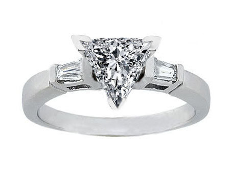 Engagement Ring Trillion Diamond Engagement Ring Tapered Baguette