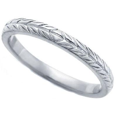 Wedding Band 14K White Gold 23 mm Engraved Wedding Ring