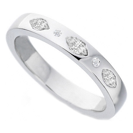 Marquise & Round Diamond Wedding Band Bezel Set in 14K White Gold