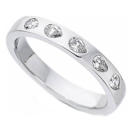 Five Stone Pear Shaped Diamond Wedding Band Bezel Set in 14K White Gold