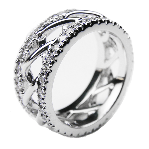 Round Diamond Double Helix Eternity Wedding Band 0.94 tcw. In 14K White Gold