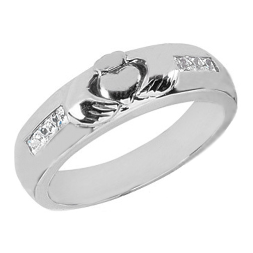 Claddagh Wedding Band Princess Diamonds 0.30 tcw. Channel Set In 14K White Gold