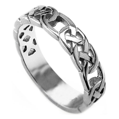 14k White Gold Celtic Wedding Ring