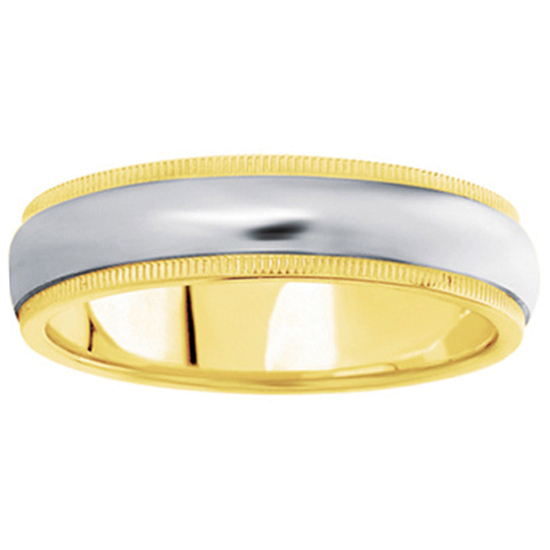 Comfort-Fit Wedding Ring in Two-Tone 14K White & Yellow (6 mm)