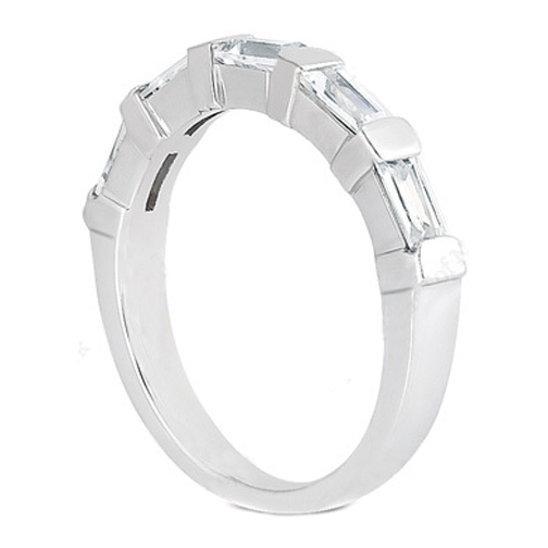 Baguette Diamond Wedding Band 0.30 tcw. Bar Set In 14K White Gold