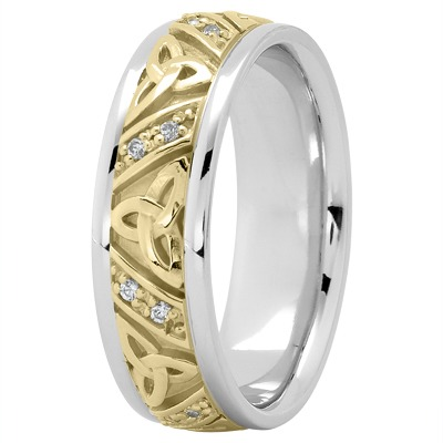 14K White and Yellow Gold Celtic Knot Diamond Wedding Ring 7mm