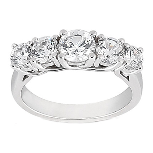 Five Stone Trellis Diamond Wedding Ring 0.49 tcw. In 14K White Gold