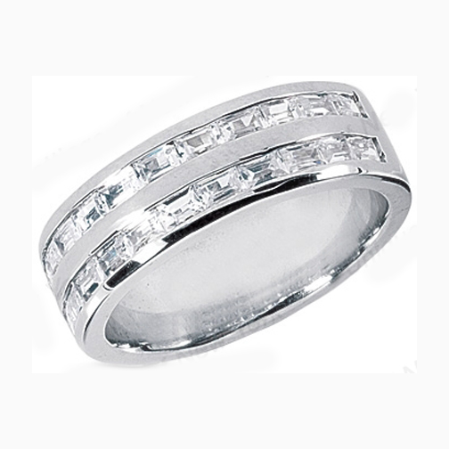 Straight Baguette Men's Wedding Band 1.4 tcw. Channel Set in 14K White Gold