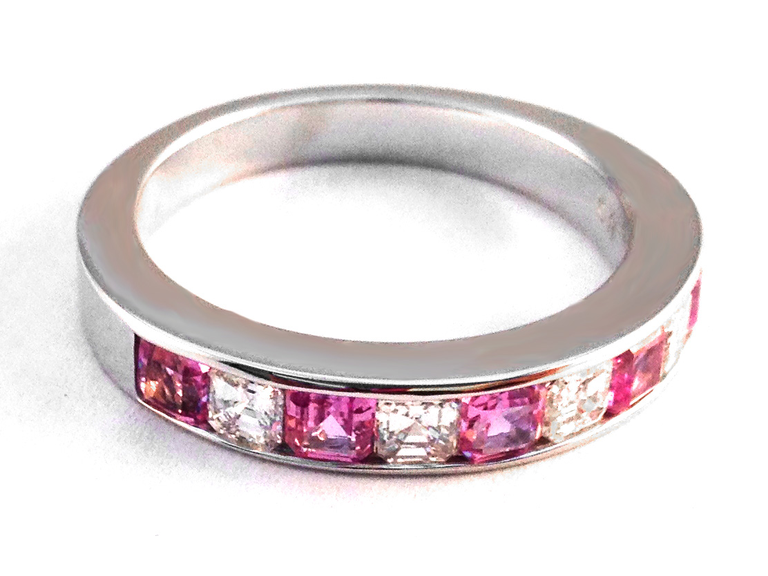 Four Stone Asscher Diamond & Pink Sapphire Wedding Band 1.26 tcw. Channel Set in 14K White Gold