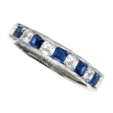 Four Stone Asscher Diamond & Blue Sapphire Wedding Band 1.26 tcw. Channel Set in 14K White Gold