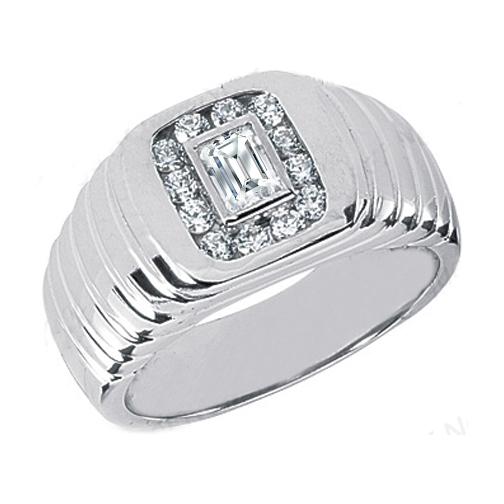 Emerald Cut and Round Diamond Men 39s Wedding Band 066 tcw