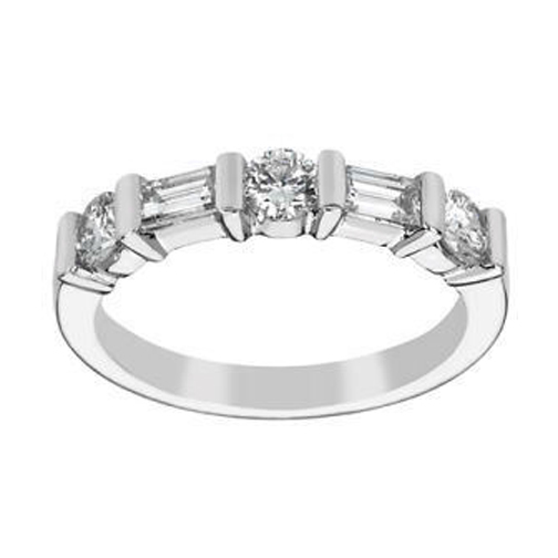 Round & Baguette Diamond Wedding Band 0.65 tcw. In 14K White Gold