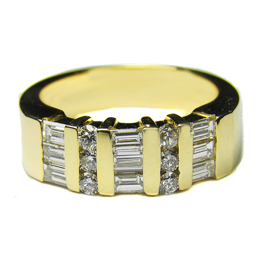 Straight Baguette & Round Diamond Wedding Band 1.11 tcw. Bar Set In 14K Yellow Gold