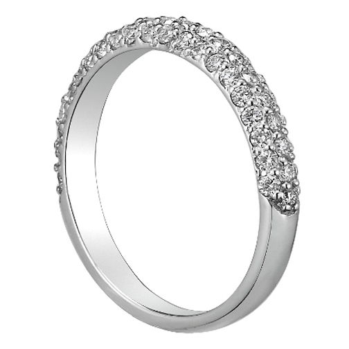 Round Diamond Etoil Wedding Band in 14K White Gold 0.60 tcw.