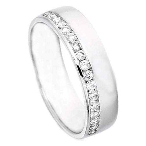 Round Diamond Channel Set Wedding Ring 0 25 Tcw In 14k White Gold