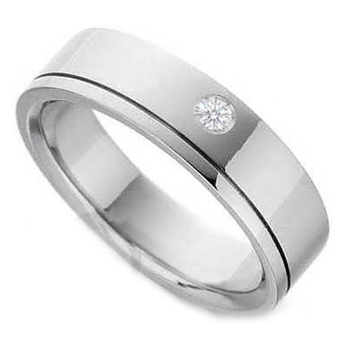 Bezel Set Solitaire Round Diamond Wedding Ring in 14K White Gold