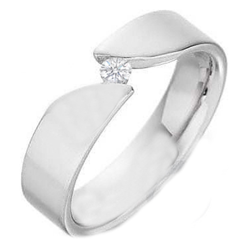 Round Diamond Wedding Ring in Bar Set 14K White Gold
