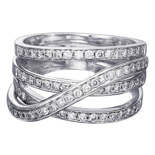 Intertwined Diamond Wedding Band 0.50 tcw. In 14K White Gold